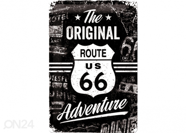 Retrotyylinen metallijuliste ROUTE 66 THE ORIGINAL ADVENTURE 20x30 cm SG-74267