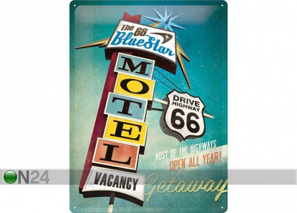 Retrotyylinen metallijuliste THE 66 BLUE STAR MOTEL 30x40 cm SG-74269