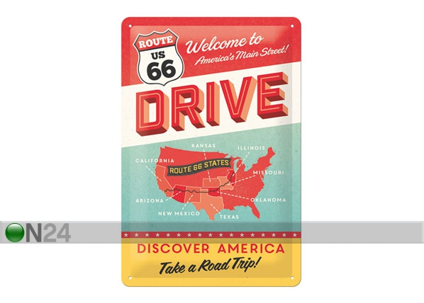 Retrotyylinen metallijuliste ROUTE 66 DISCOVER AMERICA 20x30 cm SG-78916