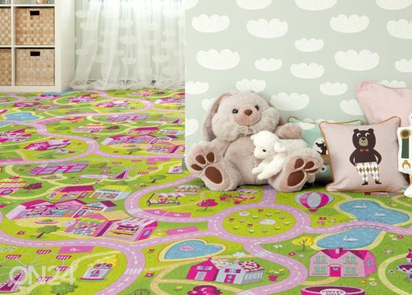 Lastenhuoneen matto HAUSKA KAUPUNKI 133x133 cm