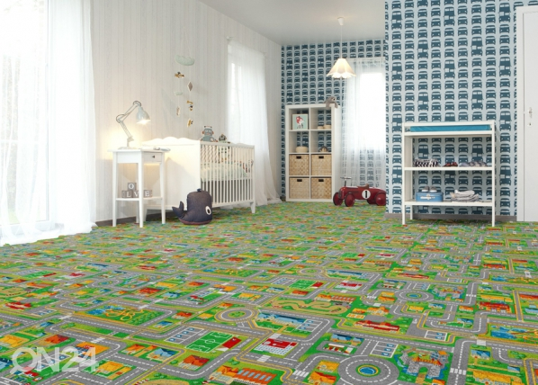 Lastenhuoneen matto LIIKENNE 133x133 cm