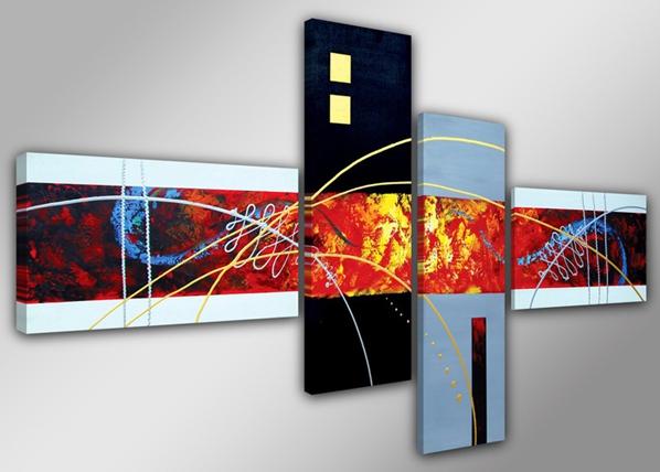Neliosainen seinätaulu OPTIK 160x70 cm