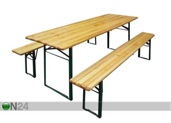 Kokoontaitettava festarisetti, pöytä 50x220 cm + 2 penkkiä