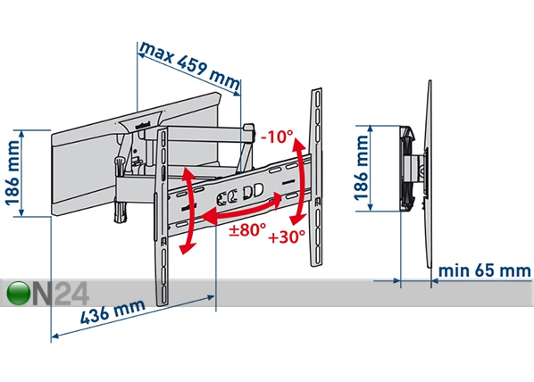 TV-seinäteline SlimStyle 400 SDRP musta