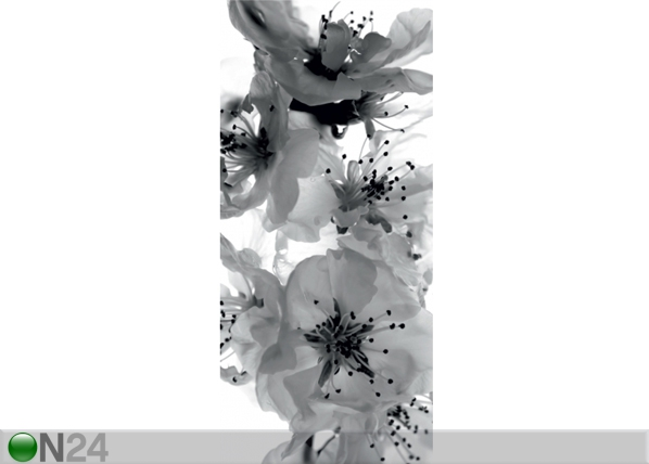 Fleece kuvatapetti BLACK AND WHITE FLOWER 90x202 cm