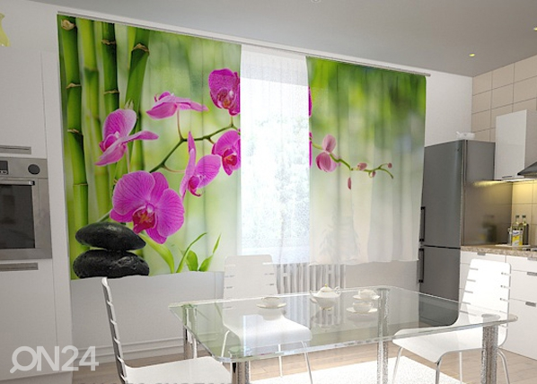 Pimentävä verho CRIMSON ORCHIDS IN THE KITCHEN 200x120 cm ED-98440