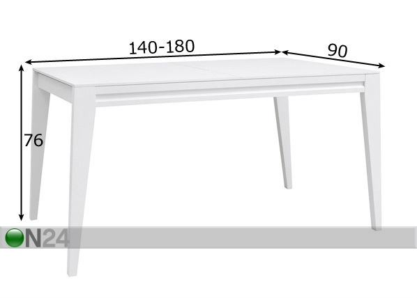 Jatkettava ruokapöytä 90x140-180 cm