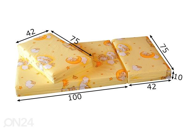 Jatkettava patja Teddy Bear keltainen 75x100+42+42 cm