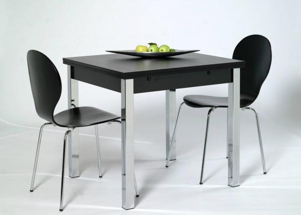 Jatkettava ruokapöytä 80x80-147 cm, musta