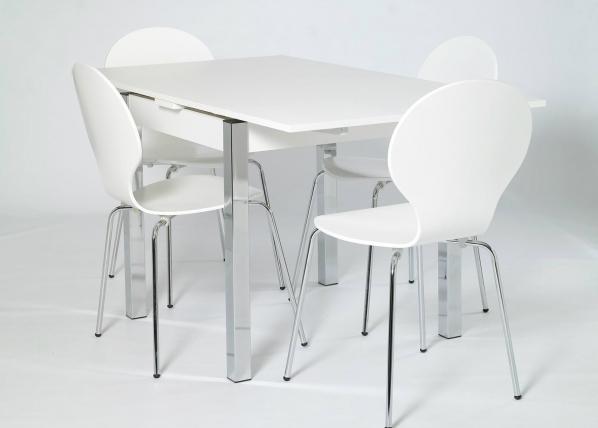 Jatkettava ruokapöytä 80x80-147 cm, valkoinen