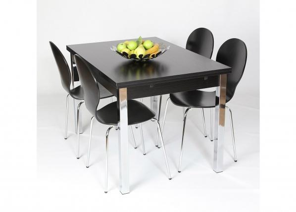 Jatkettava ruokapöytä 80x120-187 cm, musta