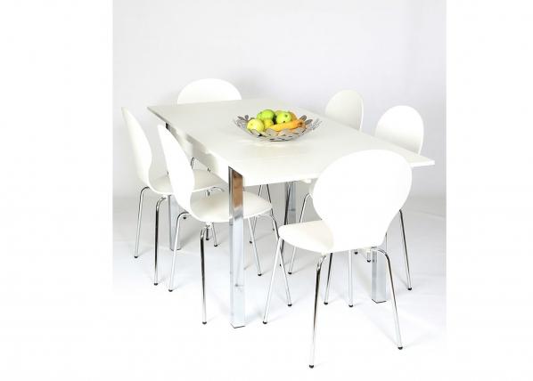 Jatkettava ruokapöytä 80x120-187 cm, valkoinen