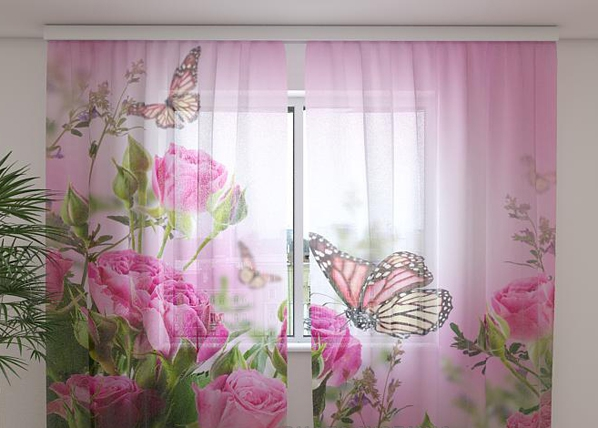 Sifonki-kuvaverho BUTTERFLIES AND PINK ROSES 240x220 cm ED-99912