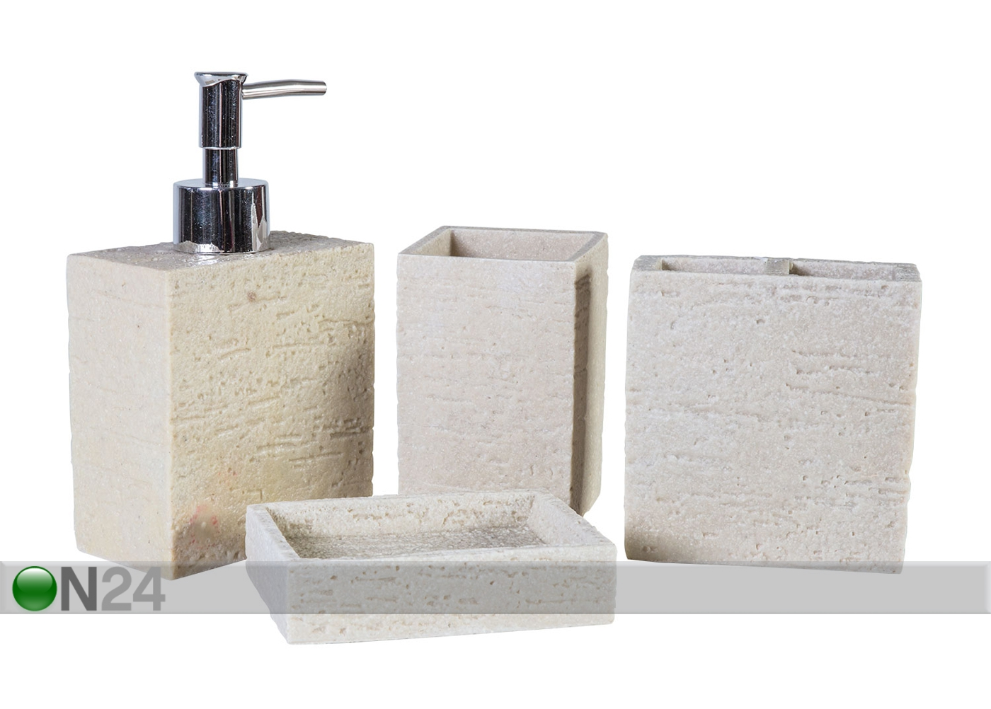 Viimeistele kylpyhuone kauniilla saman sarjan hammasharjamukilla ja saippuapumpulla. Suositut muoviset meikkitelineet pitävät meikit ja sudit ojennuksessa, suihkuun voit hankkia imukupilla kiinnitettävän suihkukorin ja muista myös wc paperiteline.